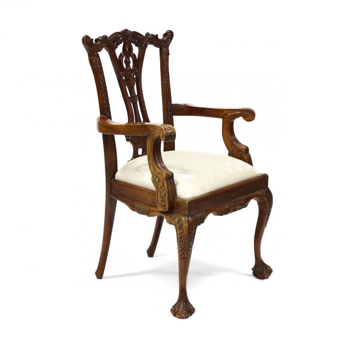 Set of Six Chippendale Style Carved Mahogany Dining - 6
