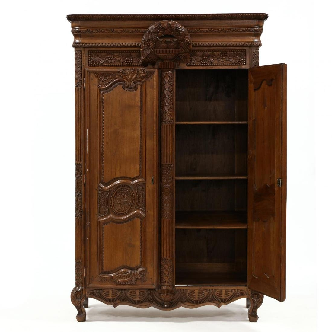 French Provincial Style Carved Mahogany Armoire - 2