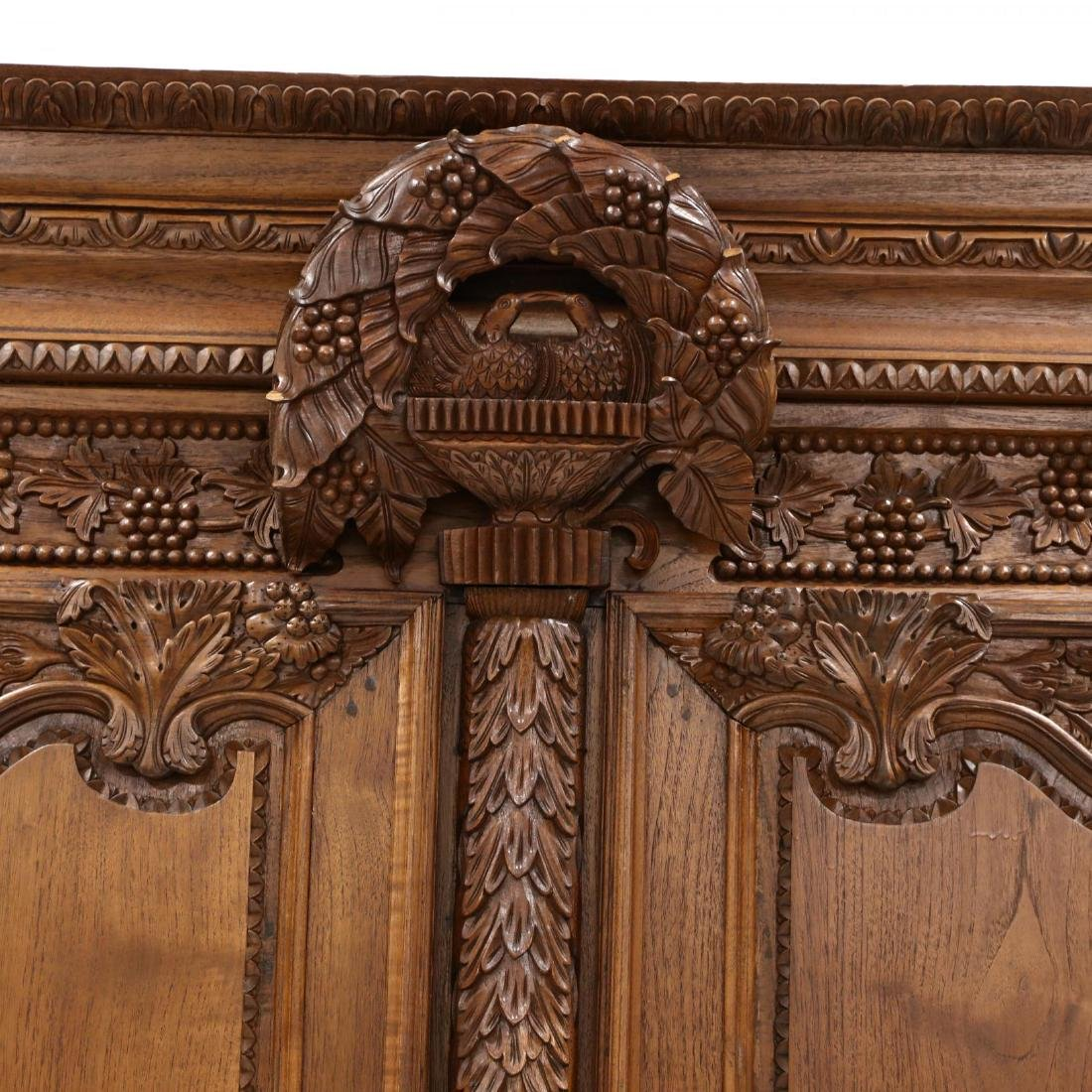 French Provincial Style Carved Mahogany Armoire - 3