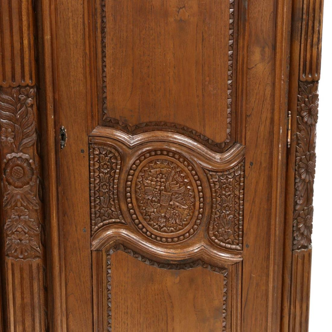 French Provincial Style Carved Mahogany Armoire - 4