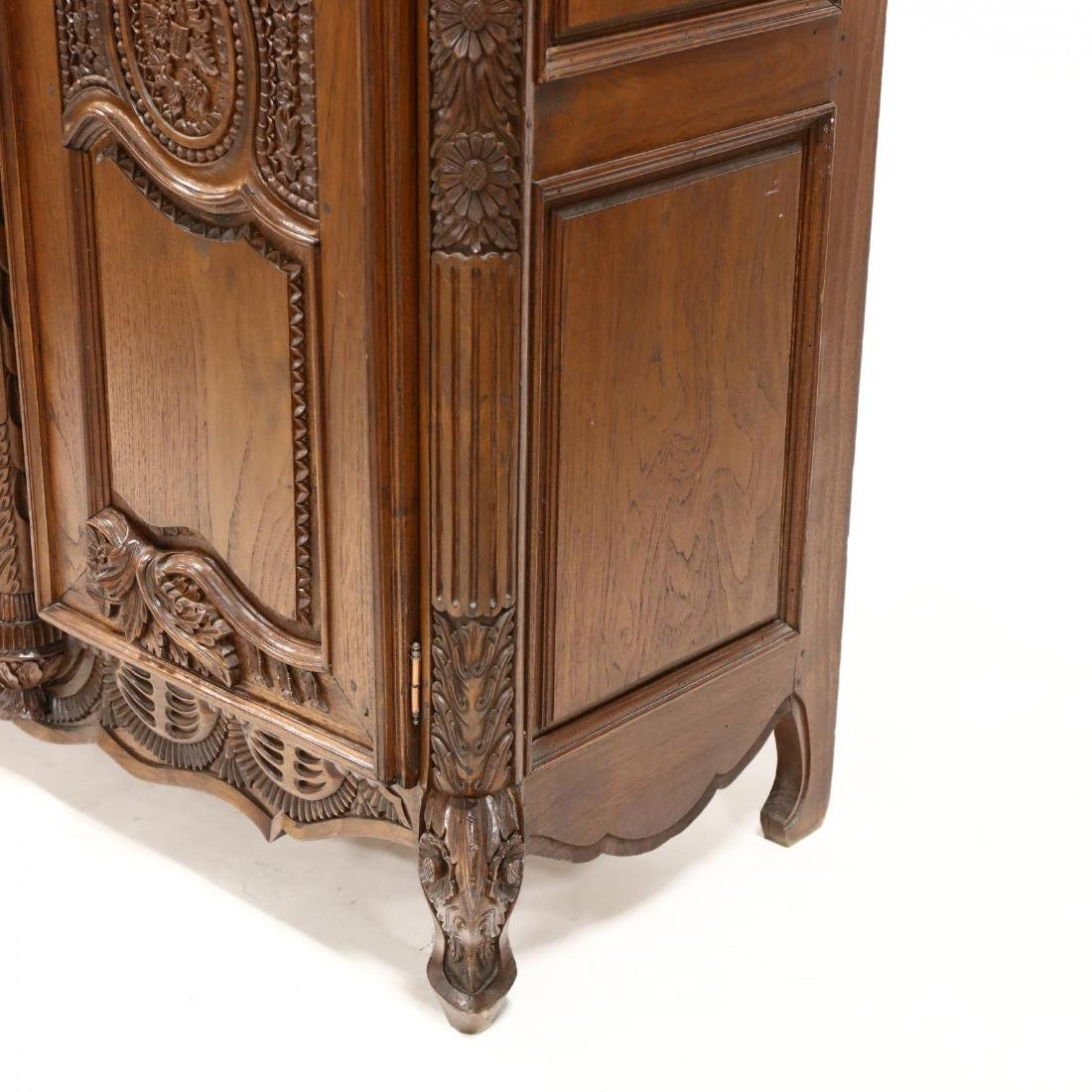 French Provincial Style Carved Mahogany Armoire - 5