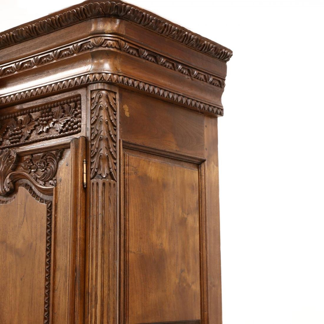 French Provincial Style Carved Mahogany Armoire - 6