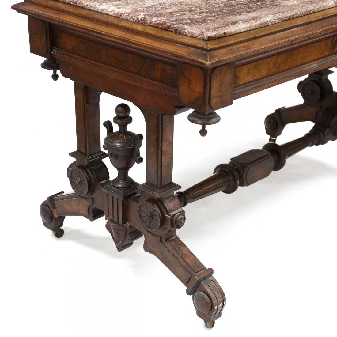 American Renaissance Revival Marble Top Library Table - 4