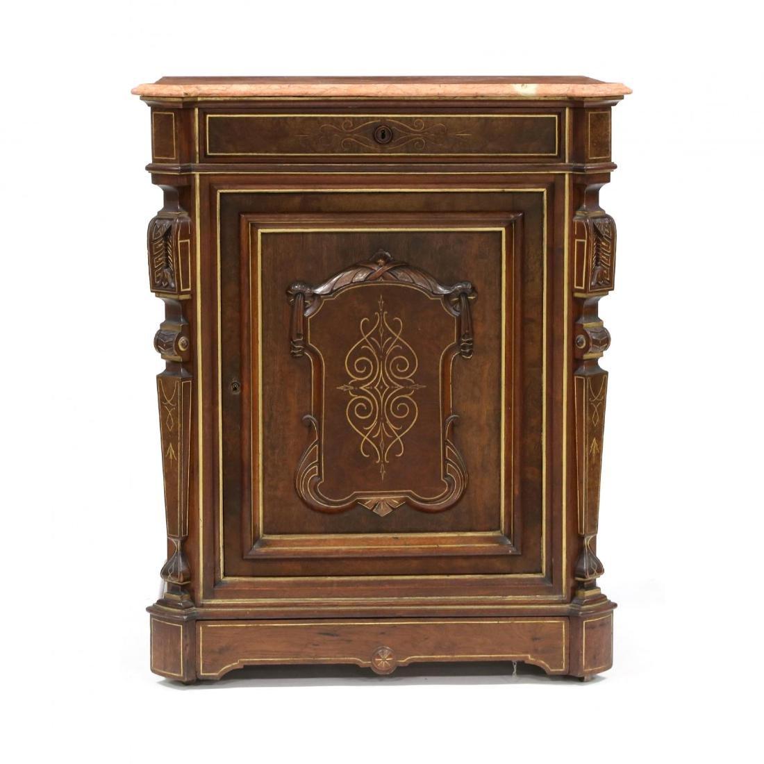 American Renaissance Revival Marble Top Cabinet
