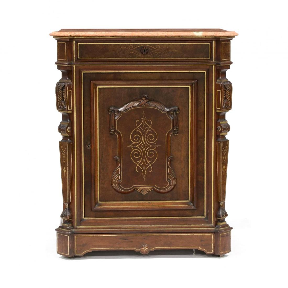 American Renaissance Revival Marble Top Cabinet