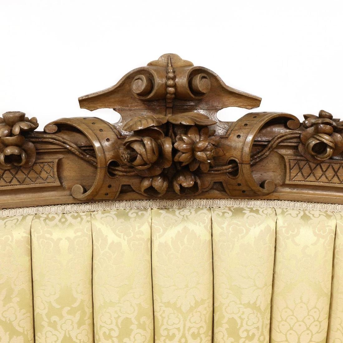 American Victorian Carved Rosewood Sofa - 3
