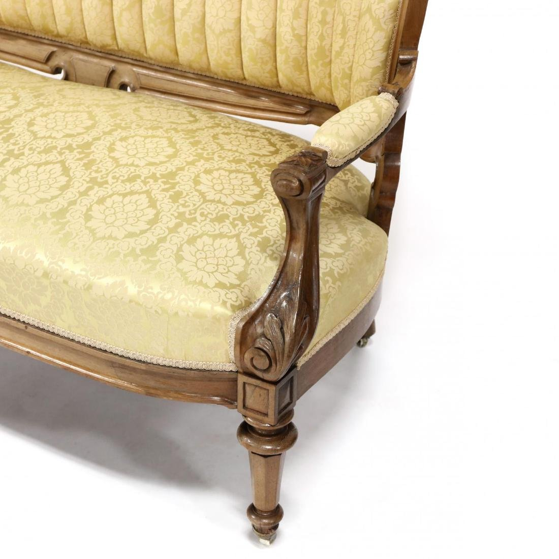 American Victorian Carved Rosewood Sofa - 4