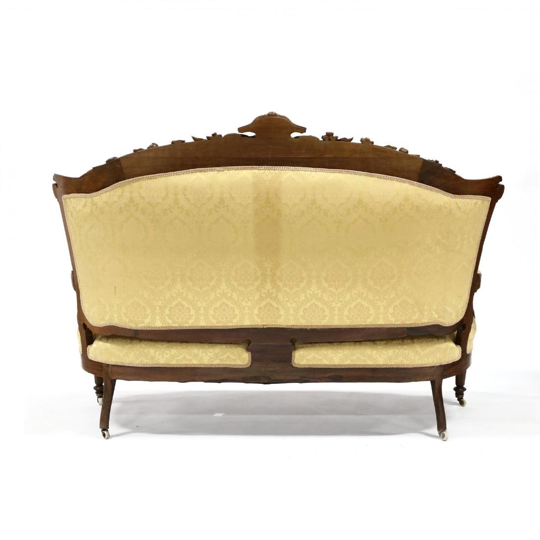 American Victorian Carved Rosewood Sofa - 5