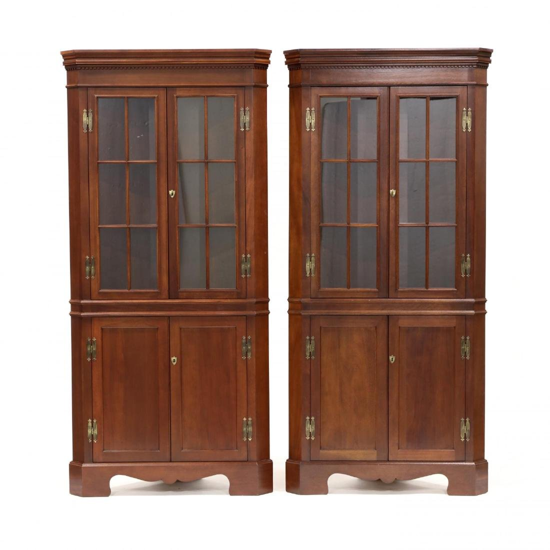 Craftique, Pair of Chippendale Style Mahogany Corner