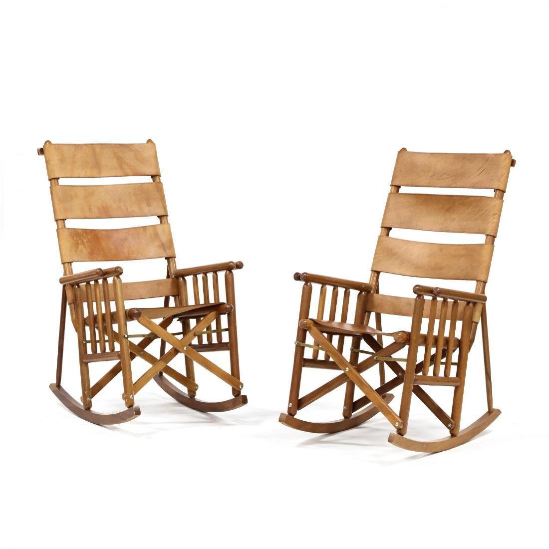 Pair of Modern Teak and Leather Campaign Rocking Chairs