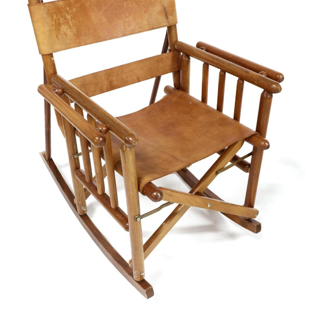 Pair of Modern Teak and Leather Campaign Rocking Chairs - 2