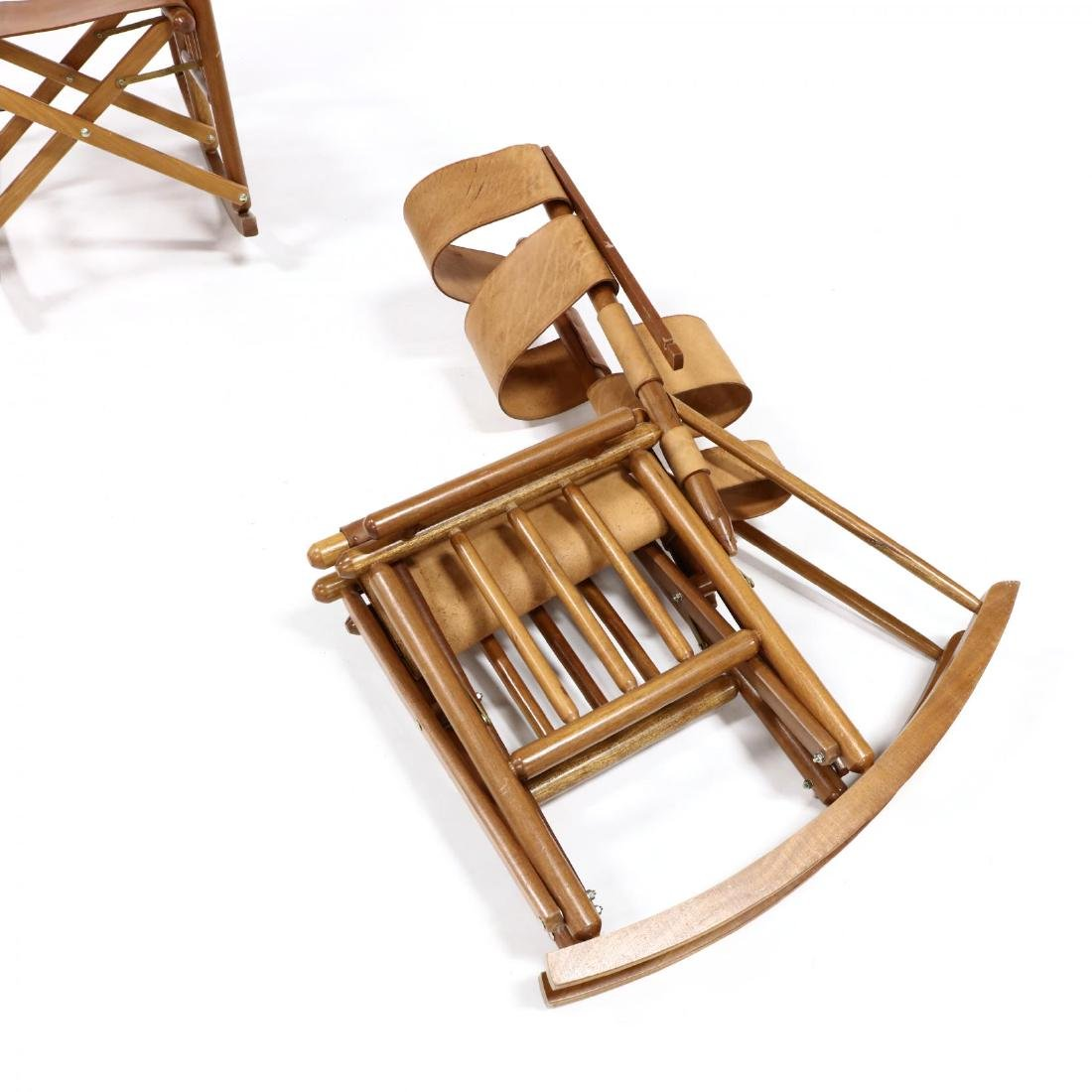 Pair of Modern Teak and Leather Campaign Rocking Chairs - 3