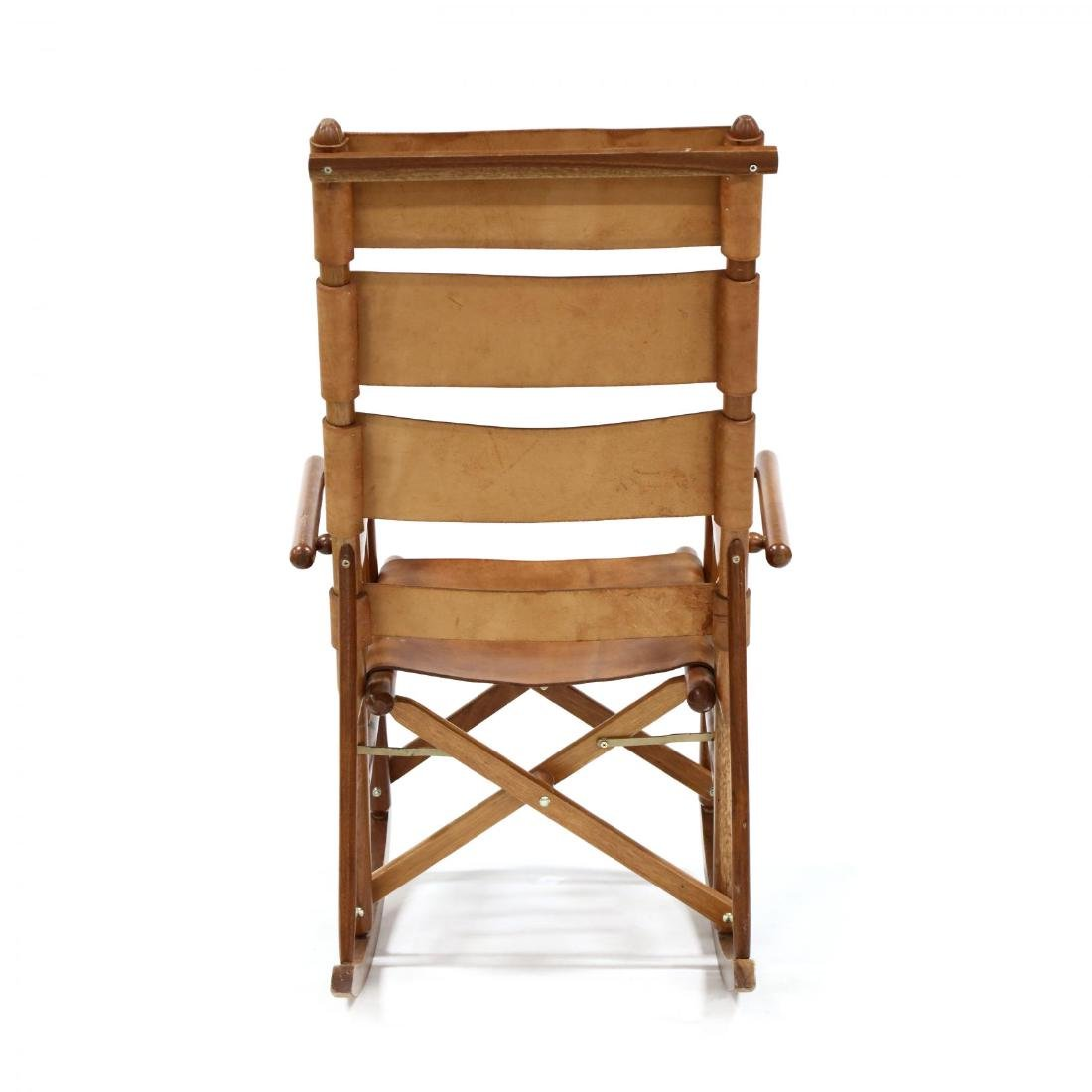 Pair of Modern Teak and Leather Campaign Rocking Chairs - 4