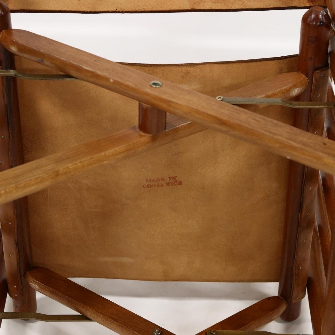 Pair of Modern Teak and Leather Campaign Rocking Chairs - 5