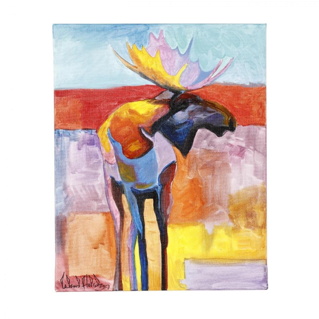 Navajo Folk Painting of a Moose by Leland Holiday