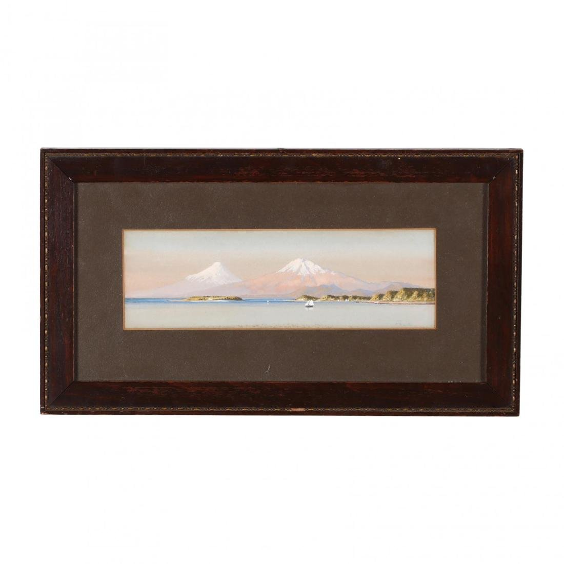 Diminutive Watercolor of Harbor and Mountains