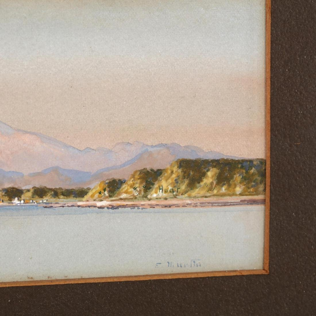 Diminutive Watercolor of Harbor and Mountains - 2