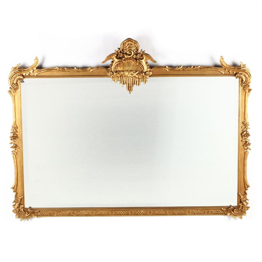 Rococo Style Carved and Gilt Over Mantel Mirror