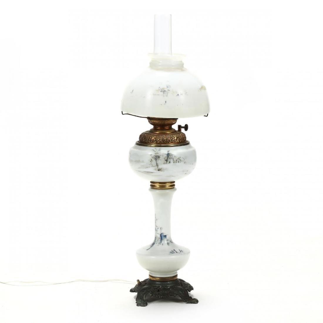 Plume & Atwood, Victorian Painted Glass Oil Lamp
