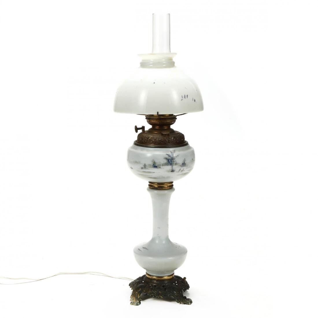 Plume & Atwood, Victorian Painted Glass Oil Lamp - 5