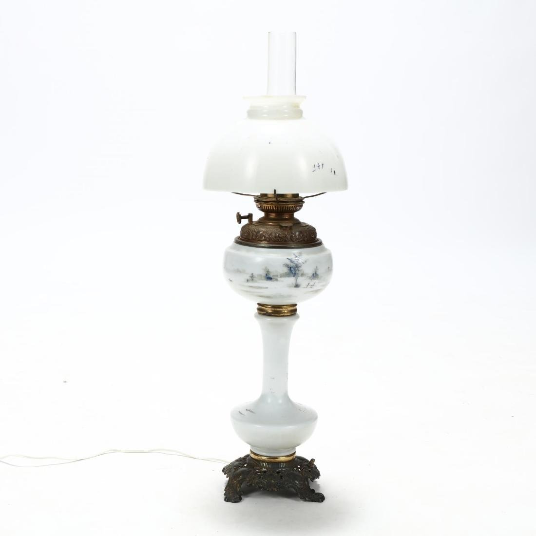 Plume & Atwood, Victorian Painted Glass Oil Lamp - 6