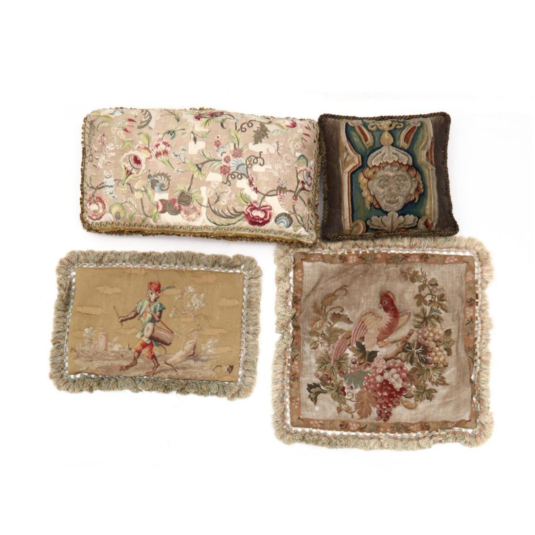 Four Antique Tapestry Covered Pillows and Pillowcases