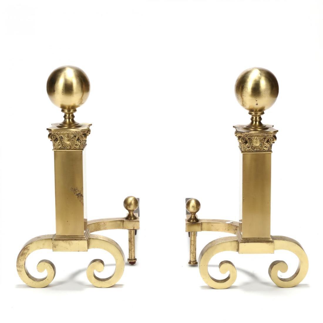 Pair of Greco-Roman Style Brass Andirons