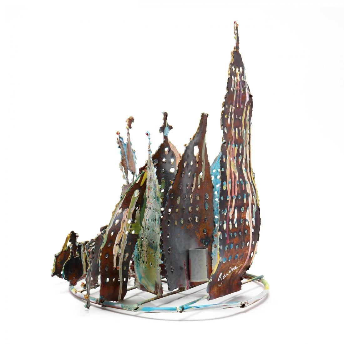 Folk Art Painted Metal Sculpture of New York City - 4