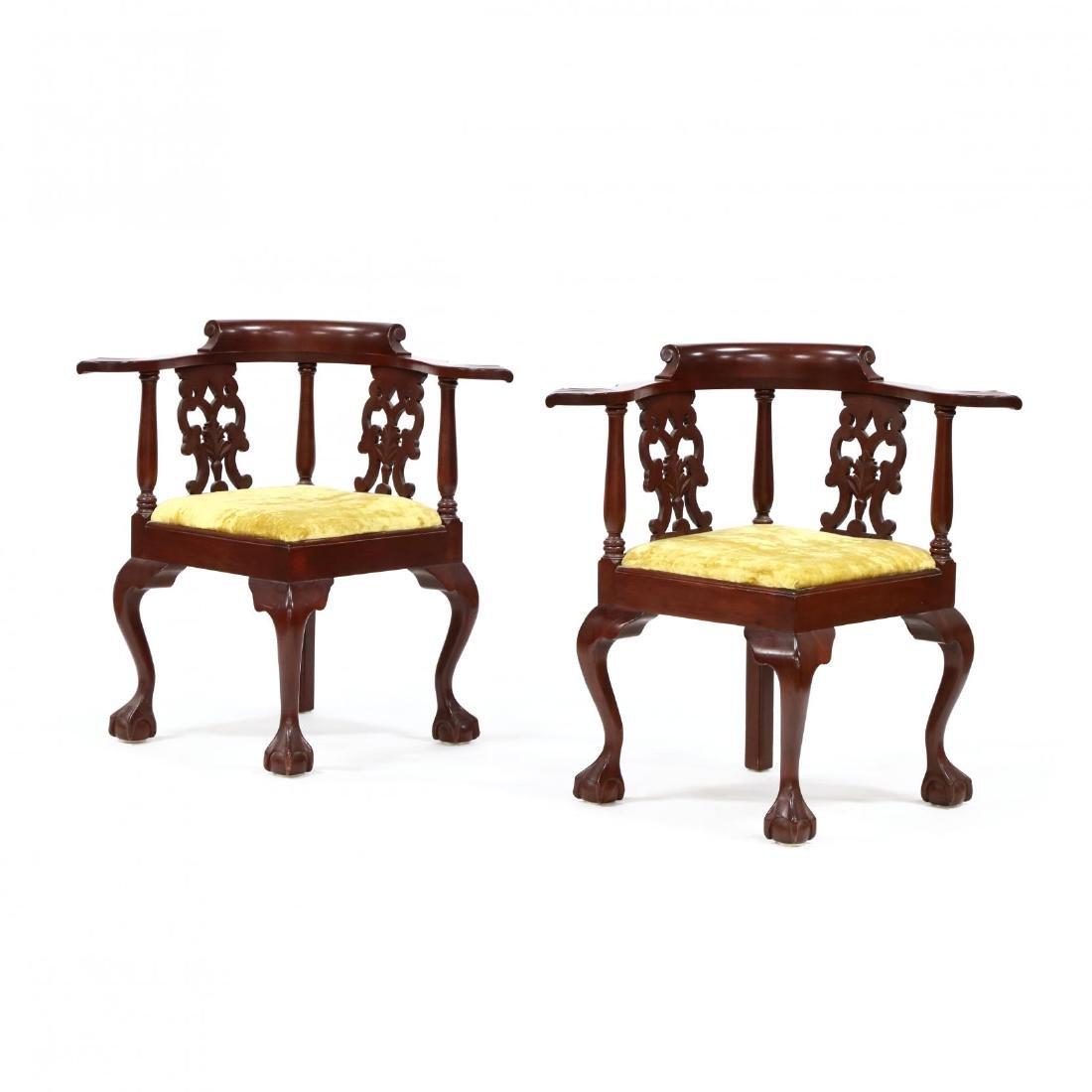 Pair of Chippendale Style Carved Mahogany Corner Chairs