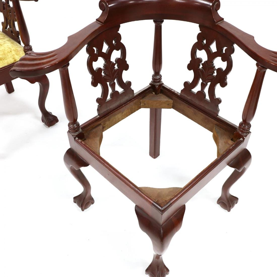 Pair of Chippendale Style Carved Mahogany Corner Chairs - 4