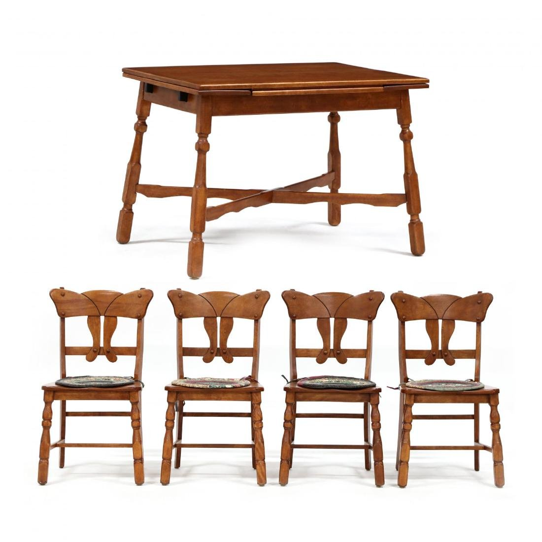 Vintage Colonial Style Maple Dining Table and Four
