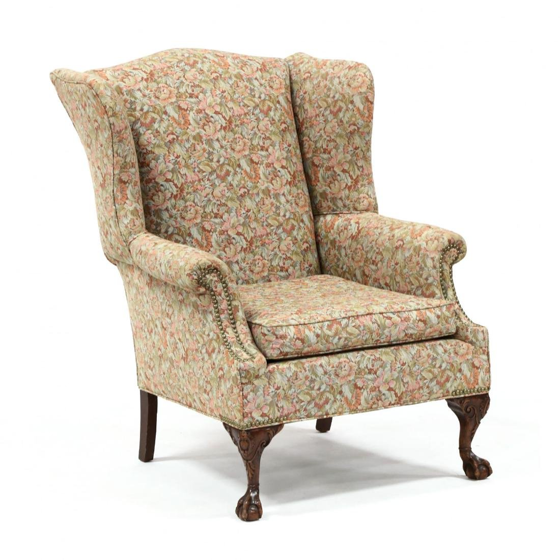 Chippendale Style Carved Mahogany Easy Chair