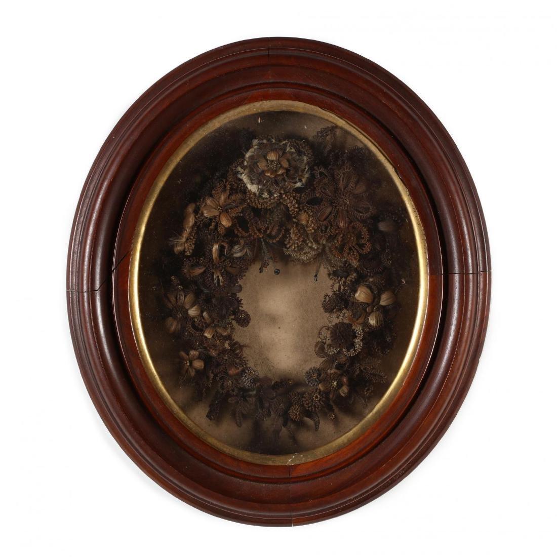 Victorian Framed Hair Memorial Wreath