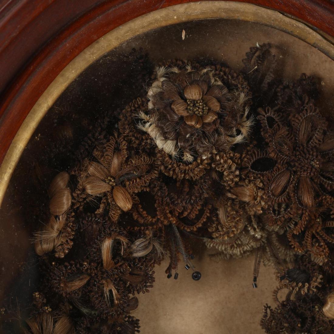 Victorian Framed Hair Memorial Wreath - 2