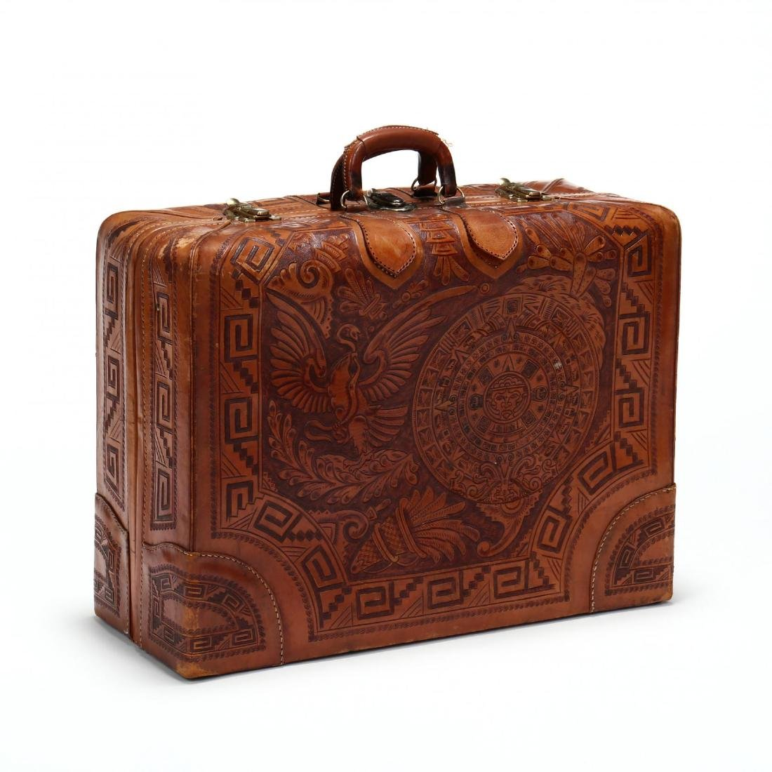 Hand Tooled Leather Suitcase, Mexico