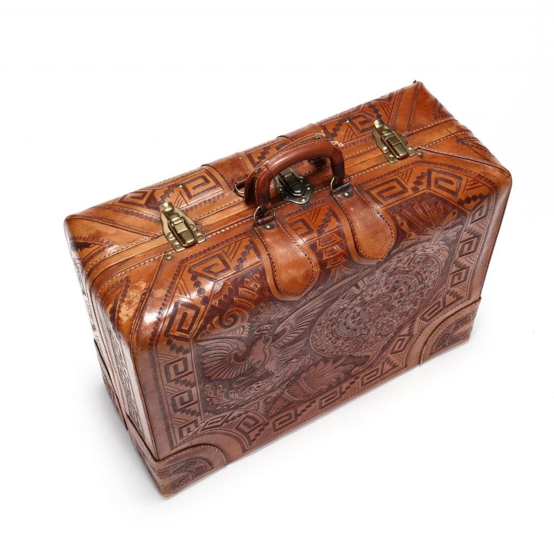 Hand Tooled Leather Suitcase, Mexico - 2