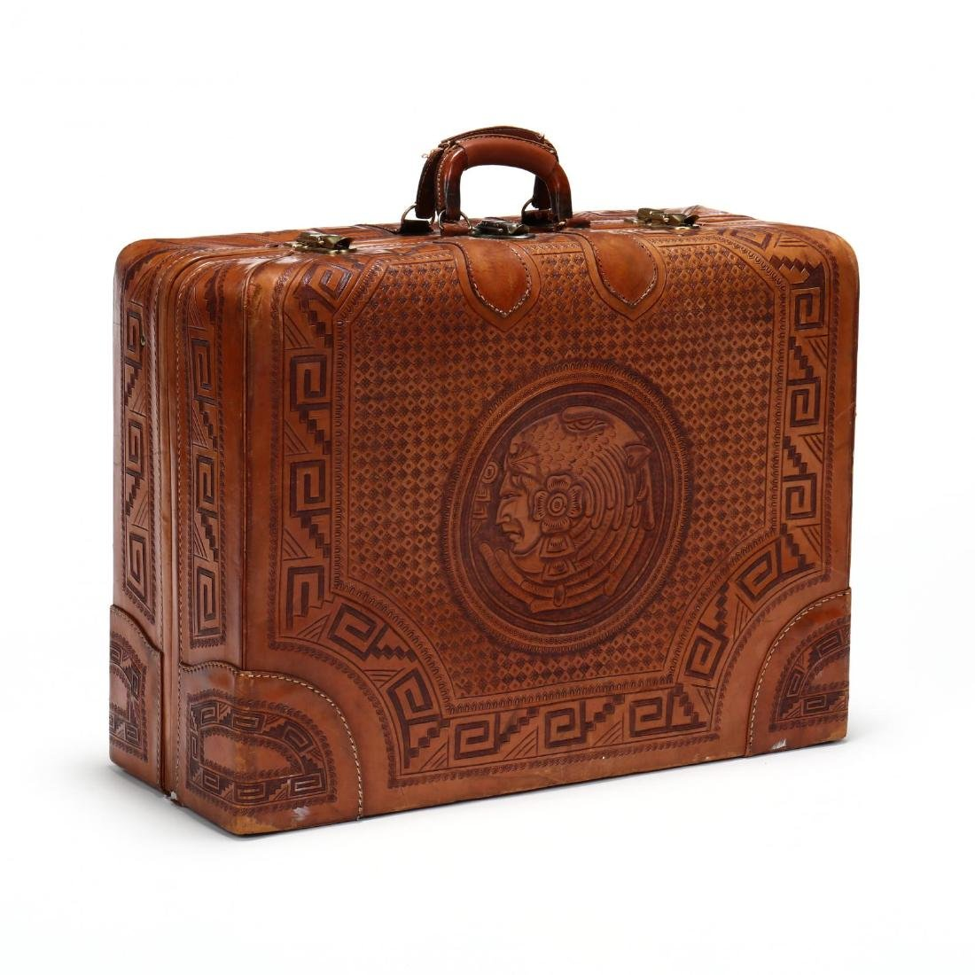 Hand Tooled Leather Suitcase, Mexico - 3