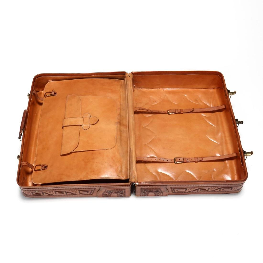 Hand Tooled Leather Suitcase, Mexico - 4