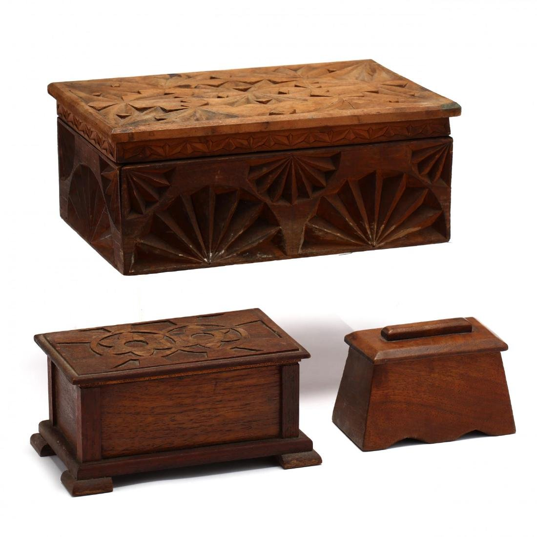Three Vintage Folk Art Carved Wood Boxes