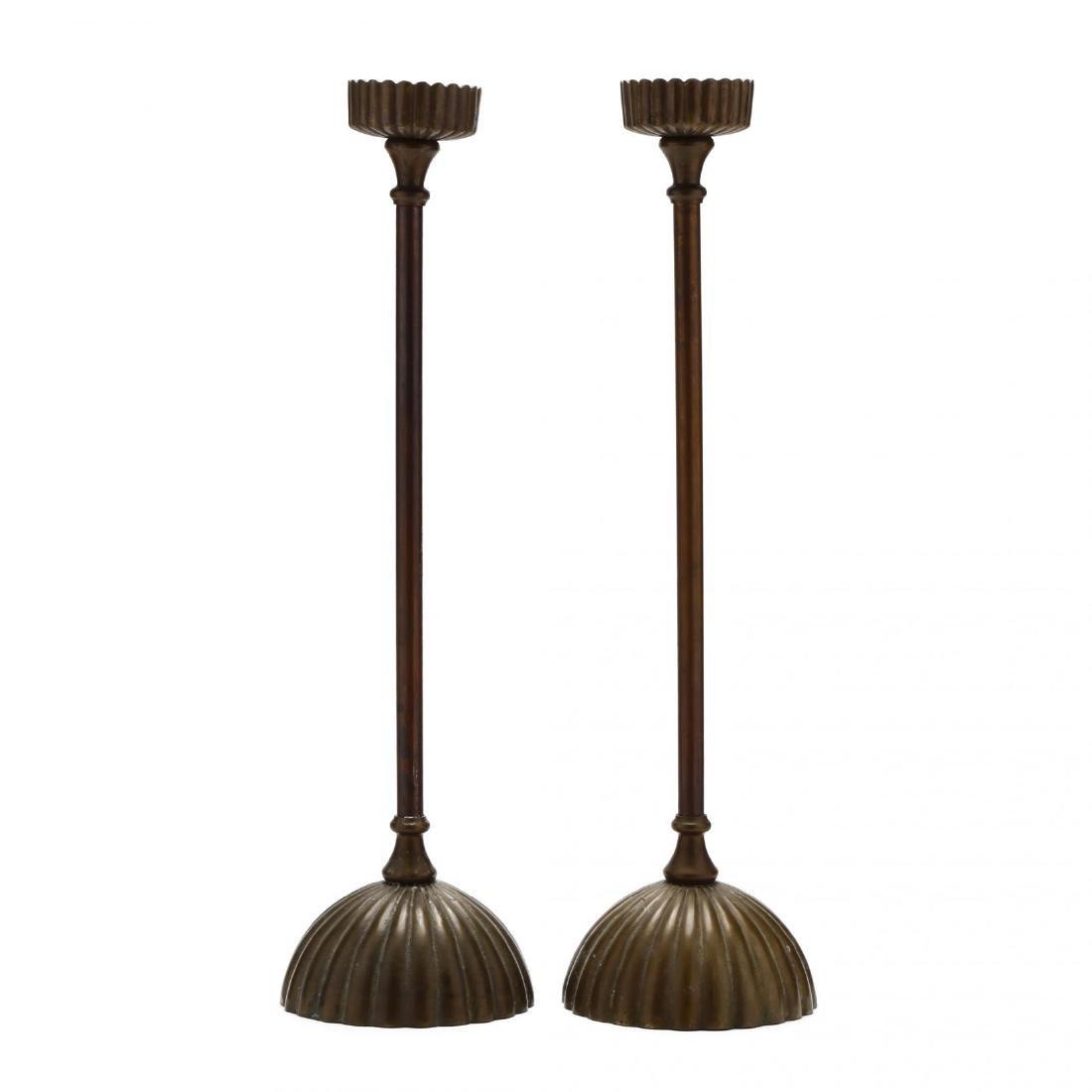 Silvestri, Pair of Modernist Brass Pricket Sticks