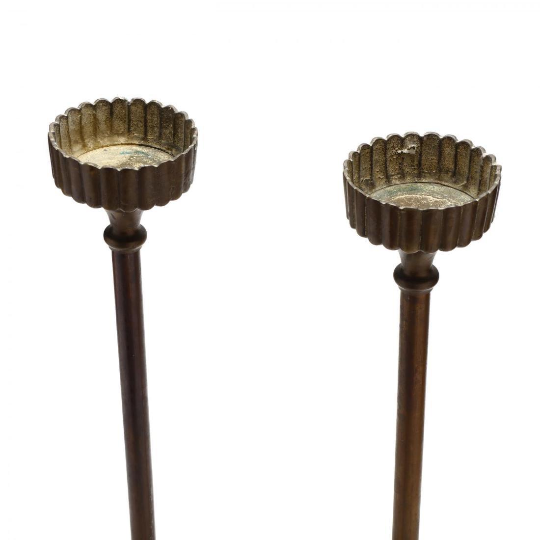 Silvestri, Pair of Modernist Brass Pricket Sticks - 2
