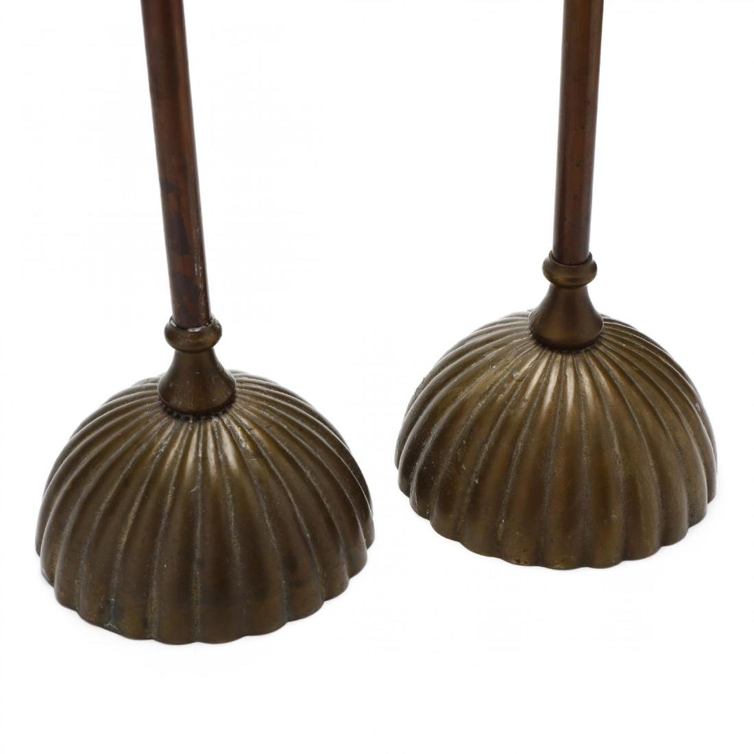Silvestri, Pair of Modernist Brass Pricket Sticks - 3