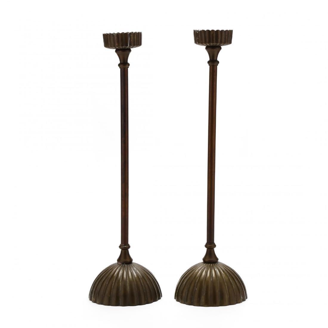 Silvestri, Pair of Modernist Brass Pricket Sticks - 4