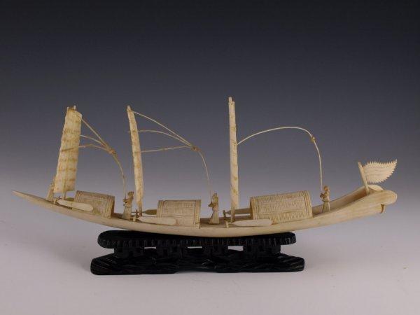 1: Antique Chinese Ivory Sampan,