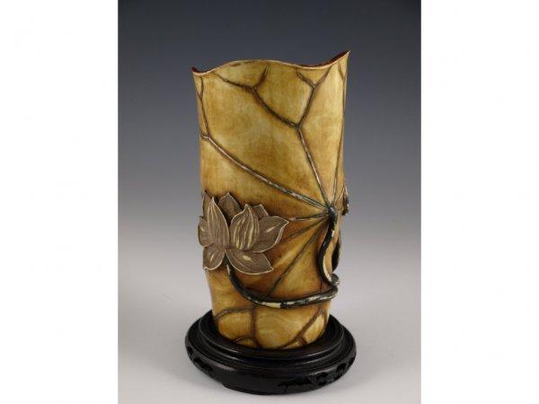 2: Painted Ivory Tusk Vase, Likely Japanese,