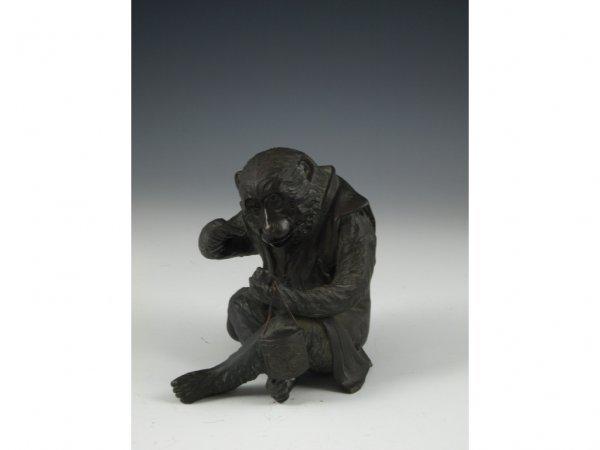 7: Signed Antique Japanese Bronze Monkey,