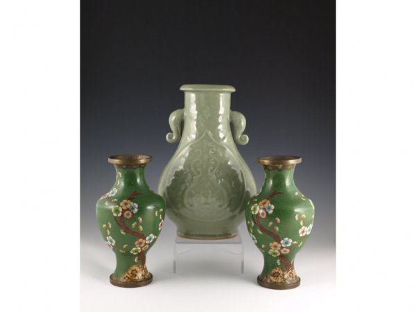 9: Chinese Cloisonne Vases and Song-Style Vase,