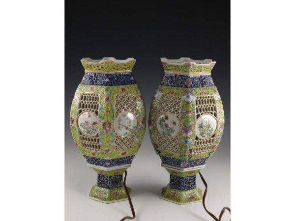 10: Pair Of Antique Chinese Export Porcelain Vases,