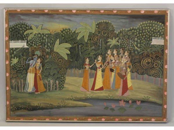 14: Indian School Painting on Silk, Krishna & Gopis,