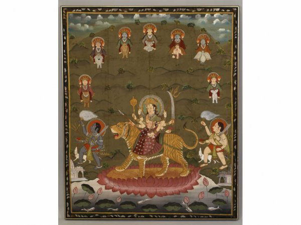 15: Indian School Painting on Silk, Goddess Durga,